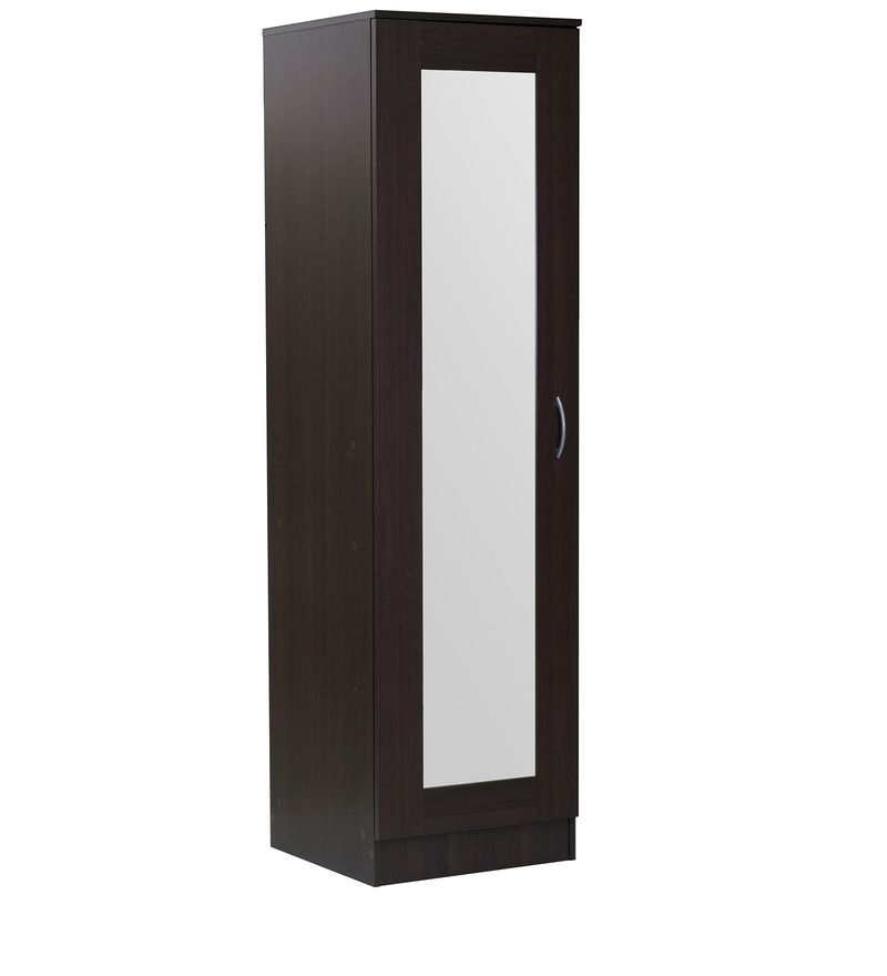 Best Single Door Wardrobe With Mirror In Chocolate Beech Finish 640 x 480