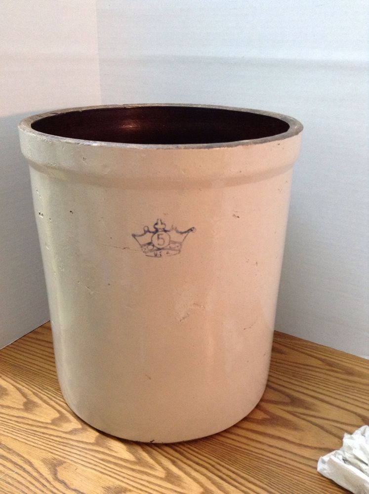 Vintage Salt Glazed Pickling Crock Pottery Stoneware 5