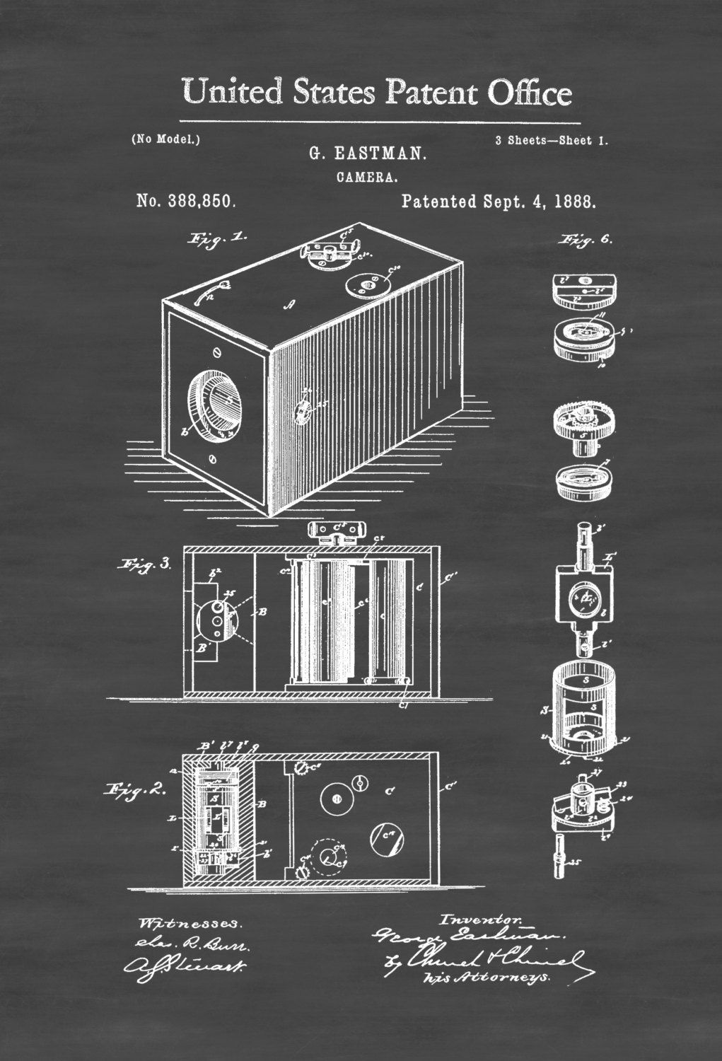 Eastman kodak camera patent patent print wall decor photography a patent print poster of the first kodak photo camera invented by george eastman the patent was issued by the united states patent office on september 4 malvernweather Images