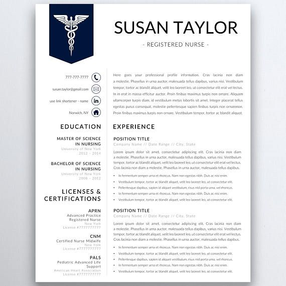 Nurse resume template for modern professionals Suitable as - resume templates for cna
