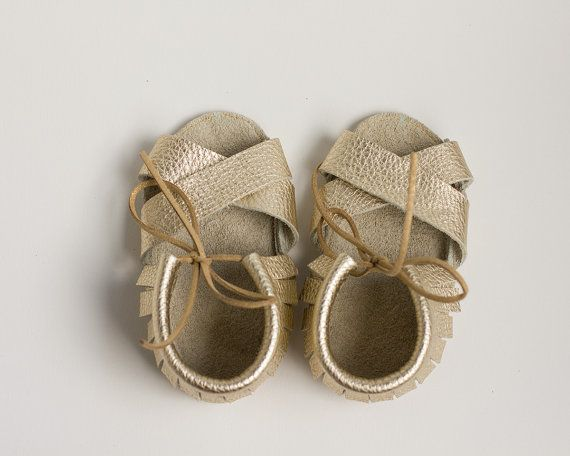7208f769fe5 Golden Baby Sandals, Baby Sandals, leather sandales, baby leather ...