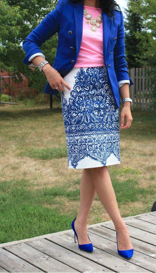 Fabulous printed skirt, blue blazer, pink shirt, blue heels