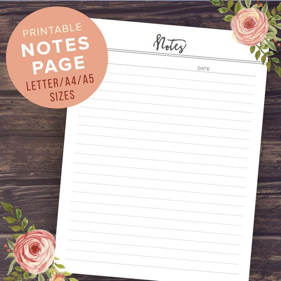 Notes Planner Pages Printable Notebook by PrintablePineapple - notepad template for word