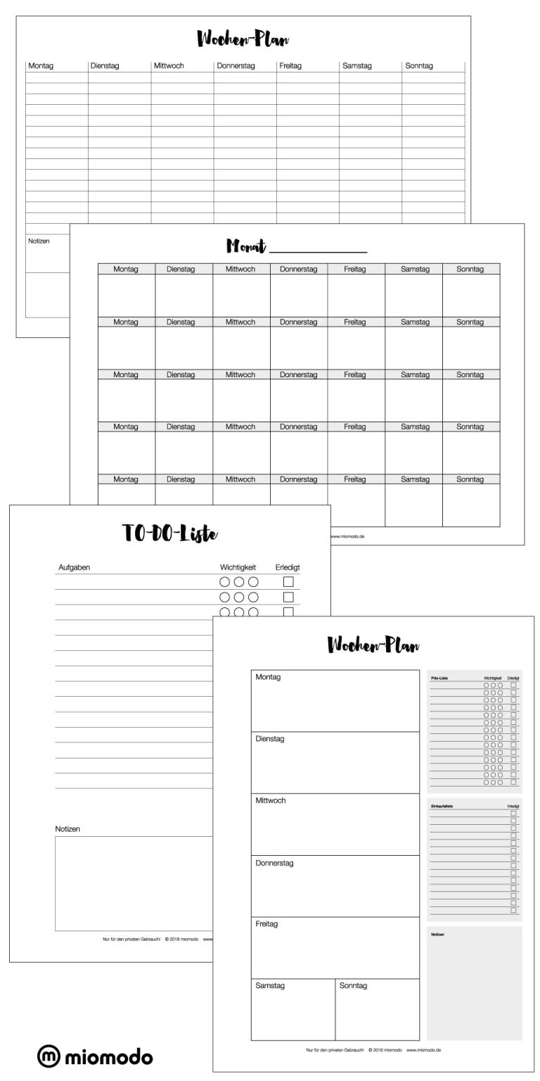 Kalender zum Ausdrucken | Wochen- und Monatsplan | DIY Blog