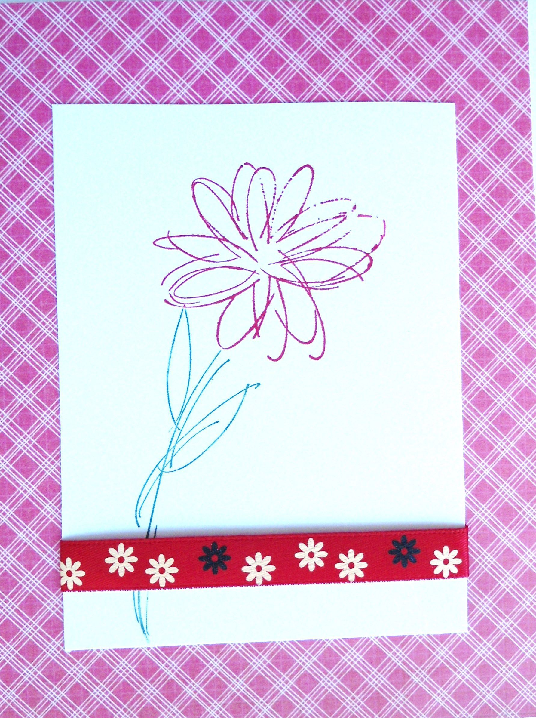 I Cut A Piece Of Plaid Paper To Just Fit The Front Of The Card Then