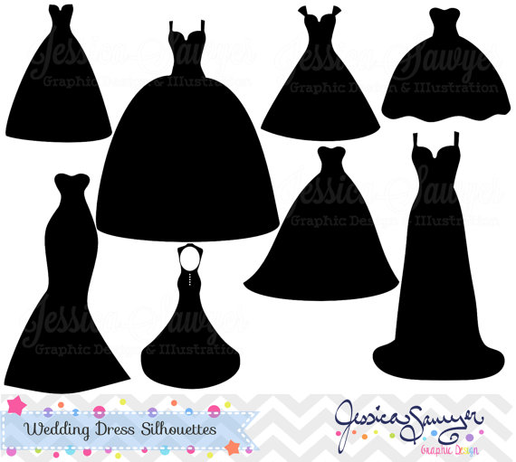 instant download wedding dress clipart silhouette clipart for rh pinterest com wedding dress clipart free download wedding dress clip art silhouette