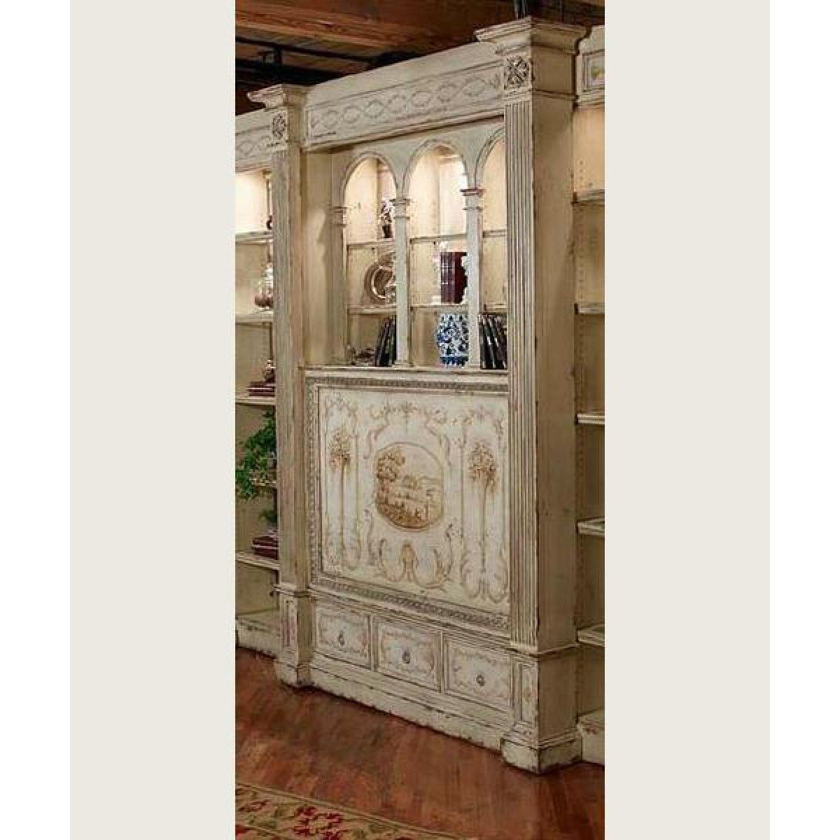 Habersham Belmont Library Tv Unit With Manual Lift Decorated Wall Systems Tv Unit Furniture