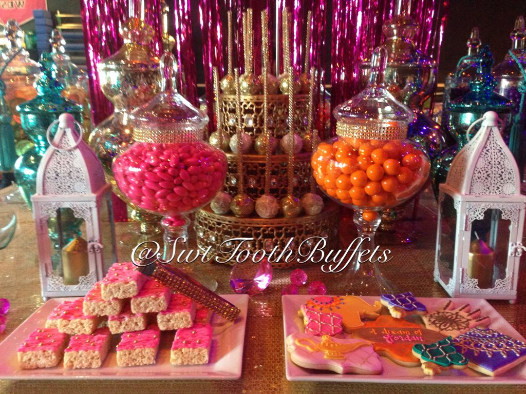 Arabian Nights Birthday Party Candy Buffet By Sweet Tooth Candy Buffets Candybuffet Can Candy Buffet Birthday Party Arabian Nights Party Moroccan Theme Party