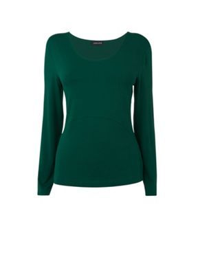 Jaeger Long sleeve curve seam jersey Green - House of Fraser