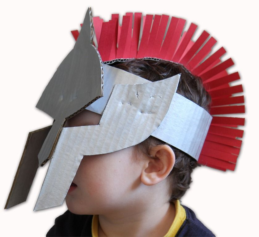 Make A Gladiators Helmet Cardboard And Stapler Must Have Accessory For Your Toddling Trojan
