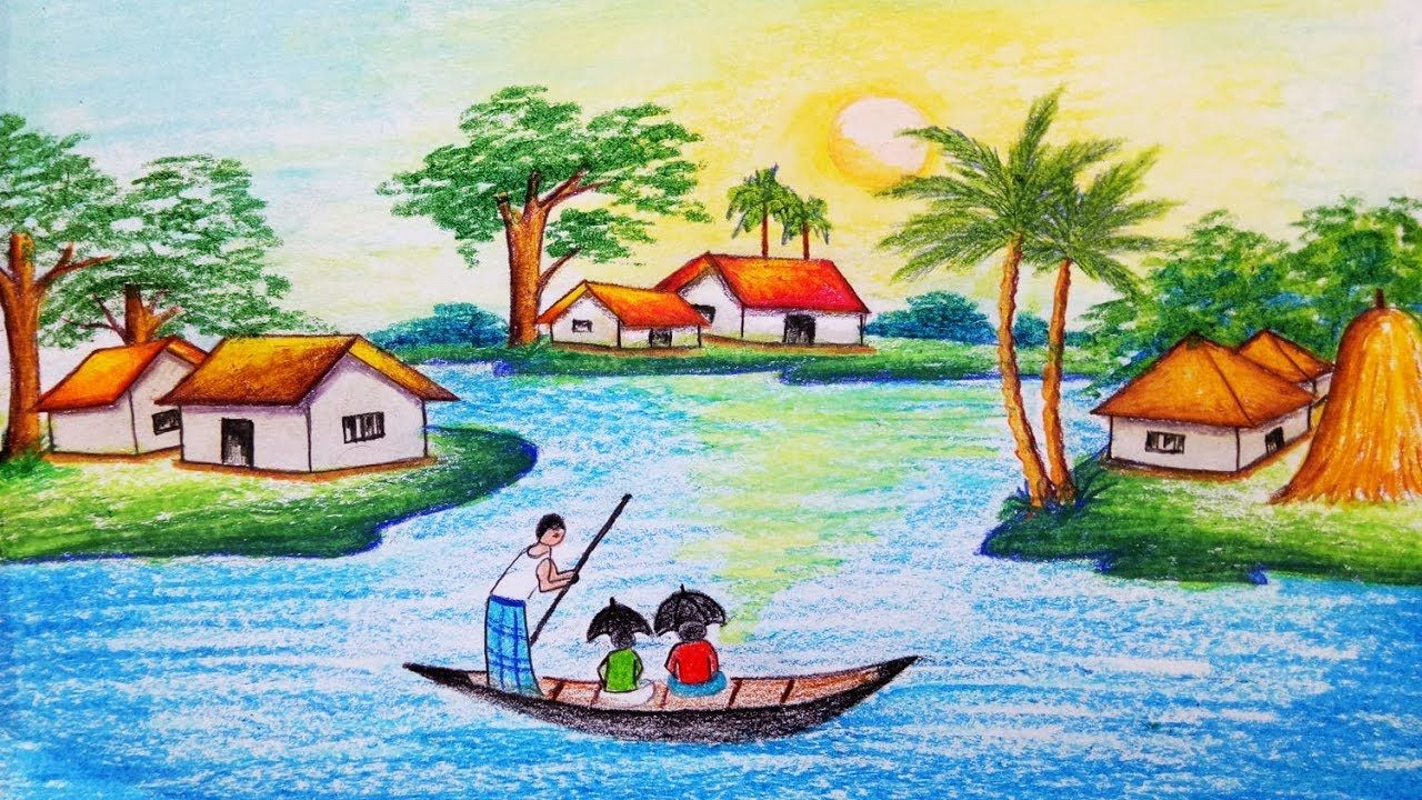 How To Draw Riverside Village Scenery Step By Step Easy Draw