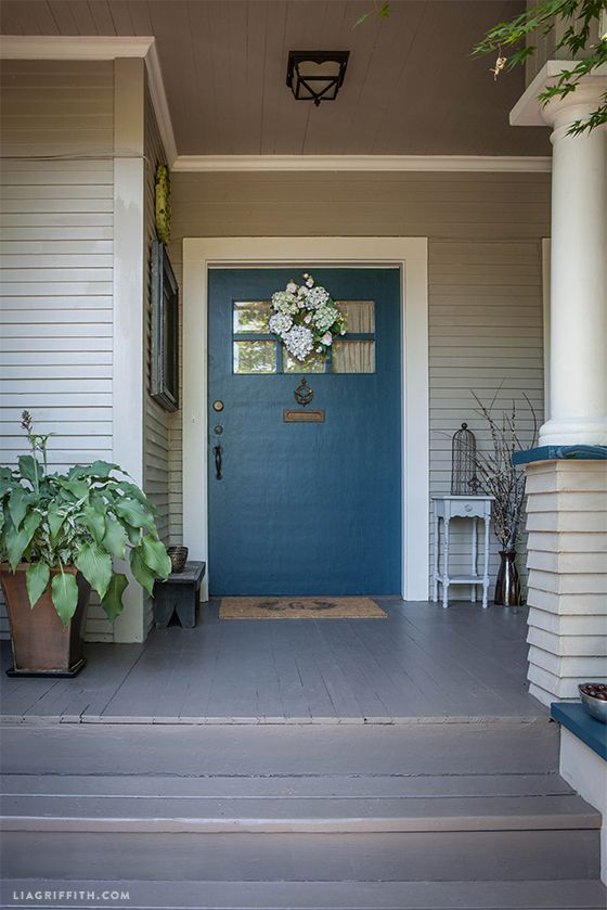 Lia Griffith S Craftsman Covered Front Porch Paint Is Sherwin Williams Emerald Exterior Latex In Satin Seaworthy 7620 Teal For Door Trim