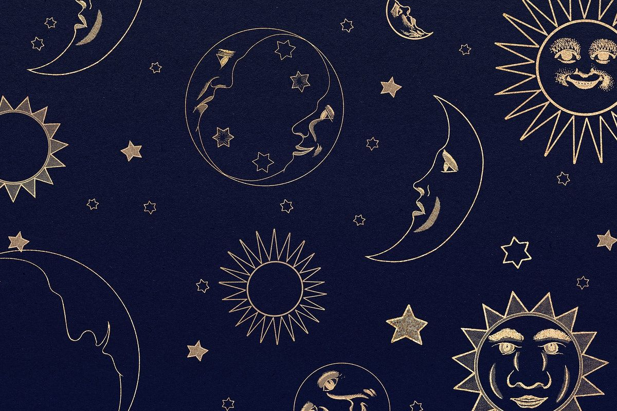 Gold celestial sun, moon and stars pattern on black background ...