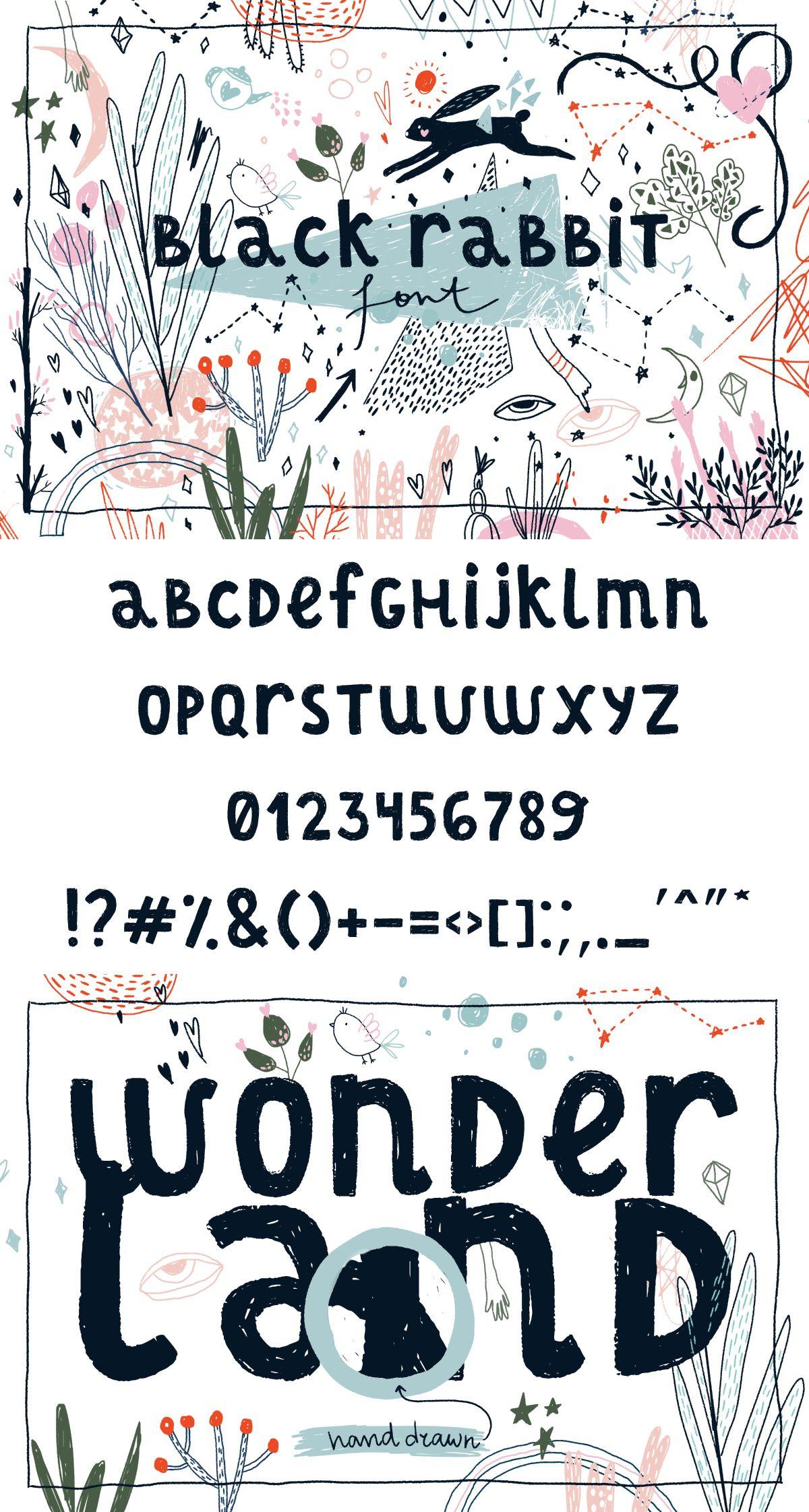 Black Rabbit Font Lettering, Graphic resources, Hand