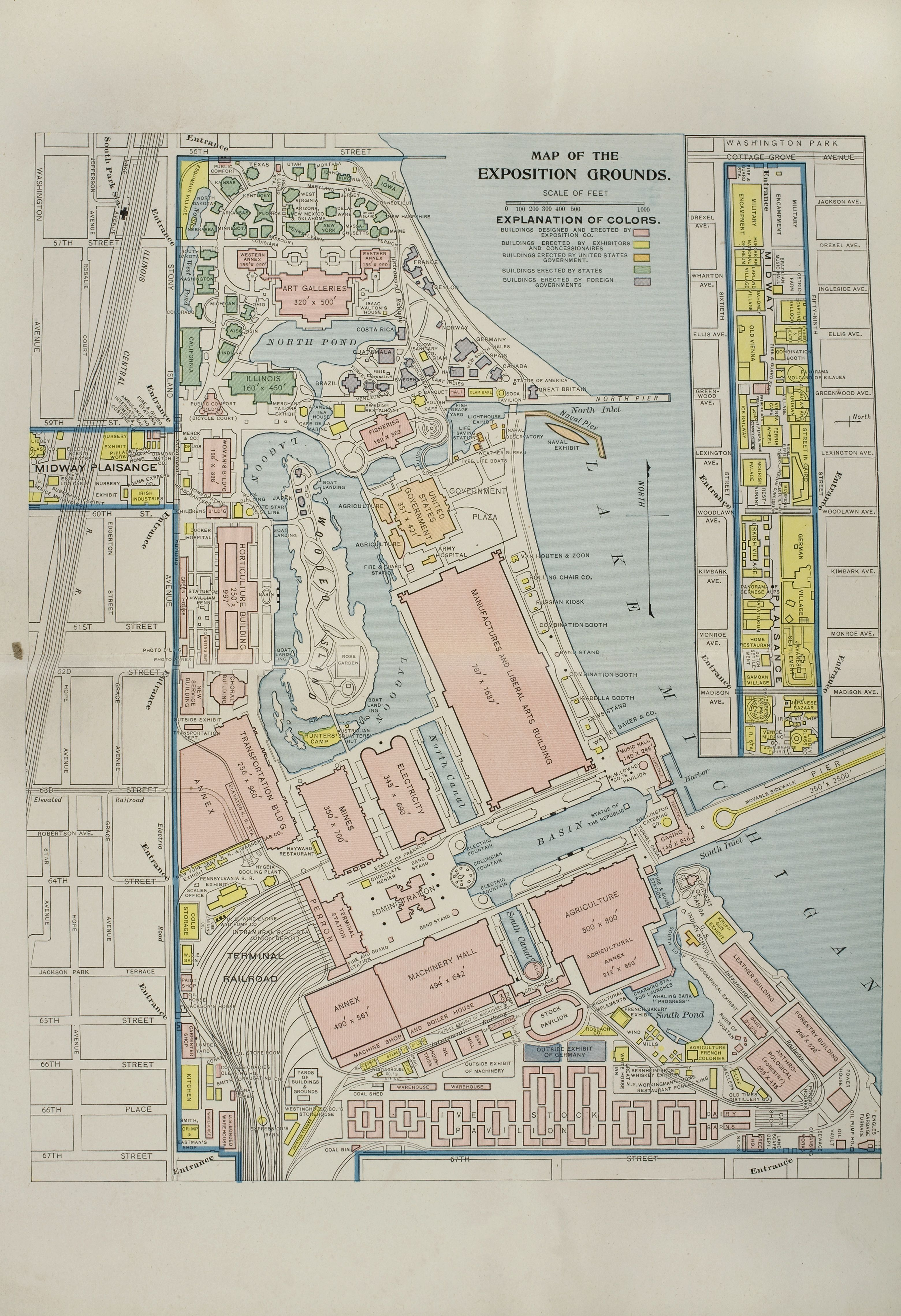 Map of the Columbian Exposition 1893 Chicago