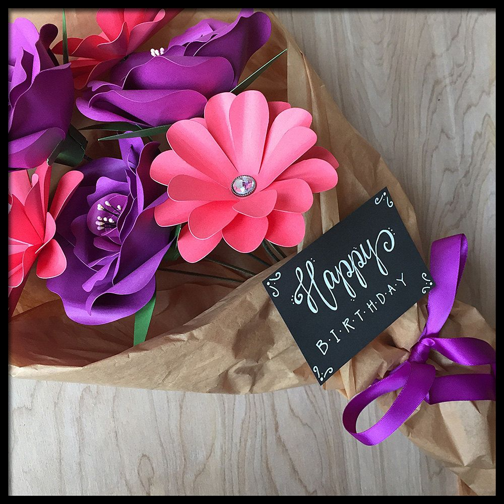 Birthday Present Gift Bouquet Paper Flowers Hand Lettered Card