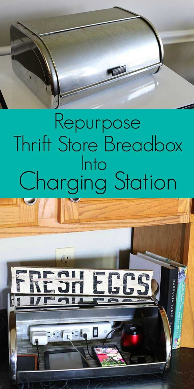 DIY Charging Station: Repurposed Thrift Store Find #thriftstorefinds