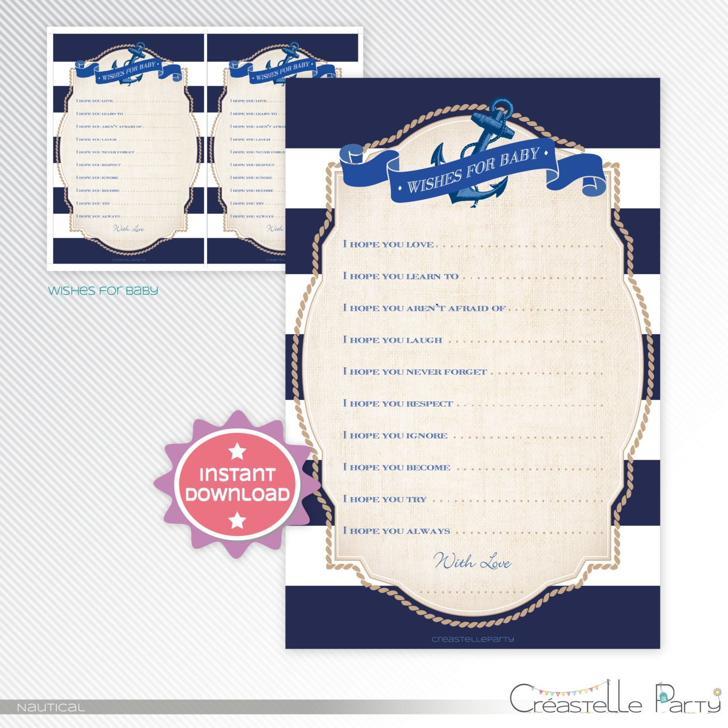 Navy Nautical anchor & stripes Wishes for the baby baby shower