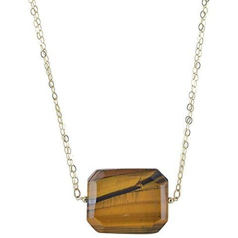 "Tiger's Eye Gemstone - 18"" 14 Karat Gold Filled Cable Chain - Handmade Statement Necklace"