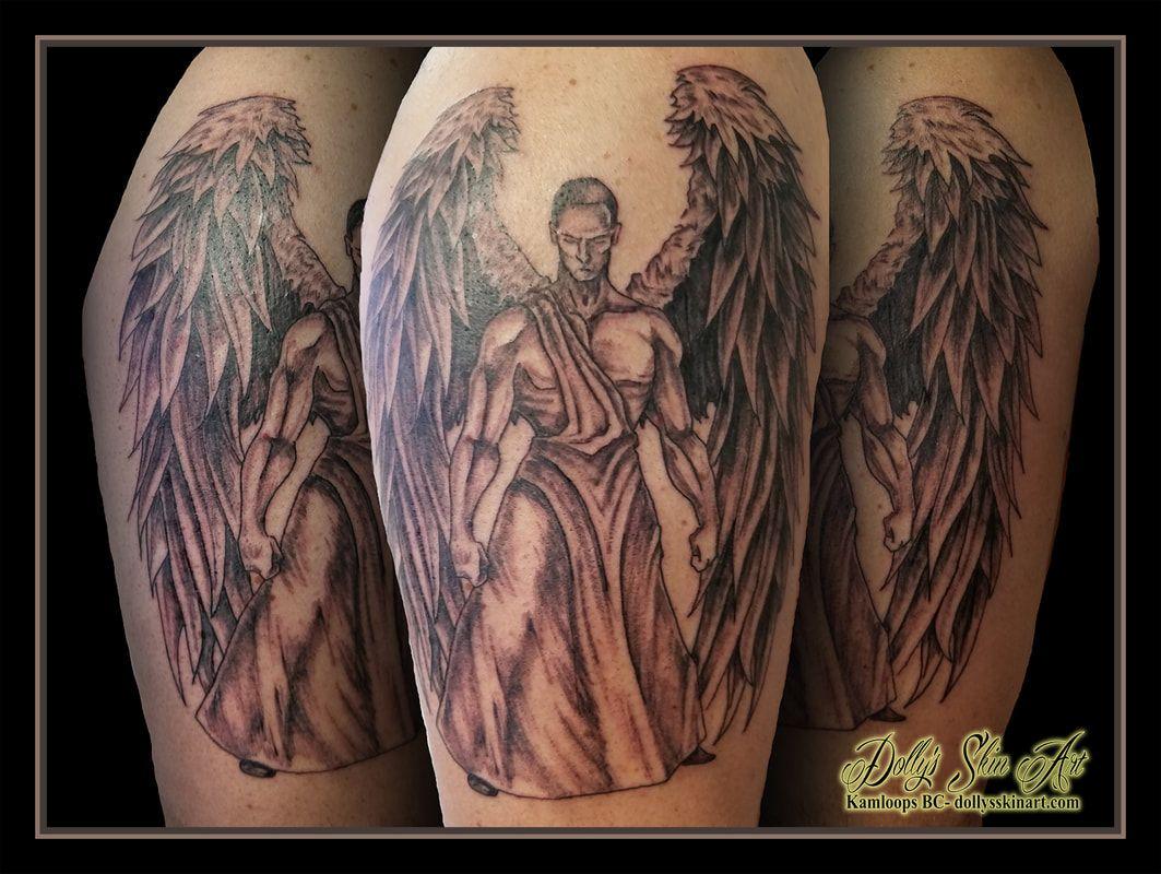 A powerful angel for Matt Shoulder tattoo, Black, grey