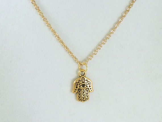 Hamsa Hand Gold Necklace, Unisex  - Protection from the Evil Eye