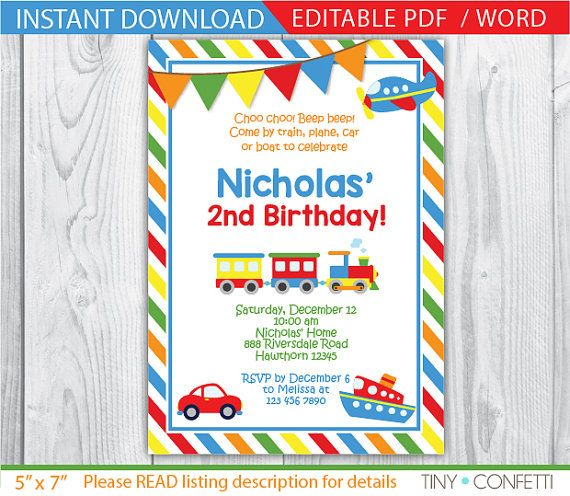 train birthday invitation transportation birthday invitation