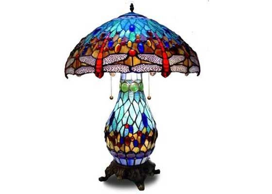 Beautiful Blue Dragonfly Tiffany Lit Base Antique Stained Glass Table Lamps