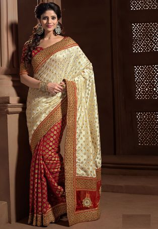 aa6fea0715 Off White and Red Art Silk Brocade Saree with Blouse   Sarees ...