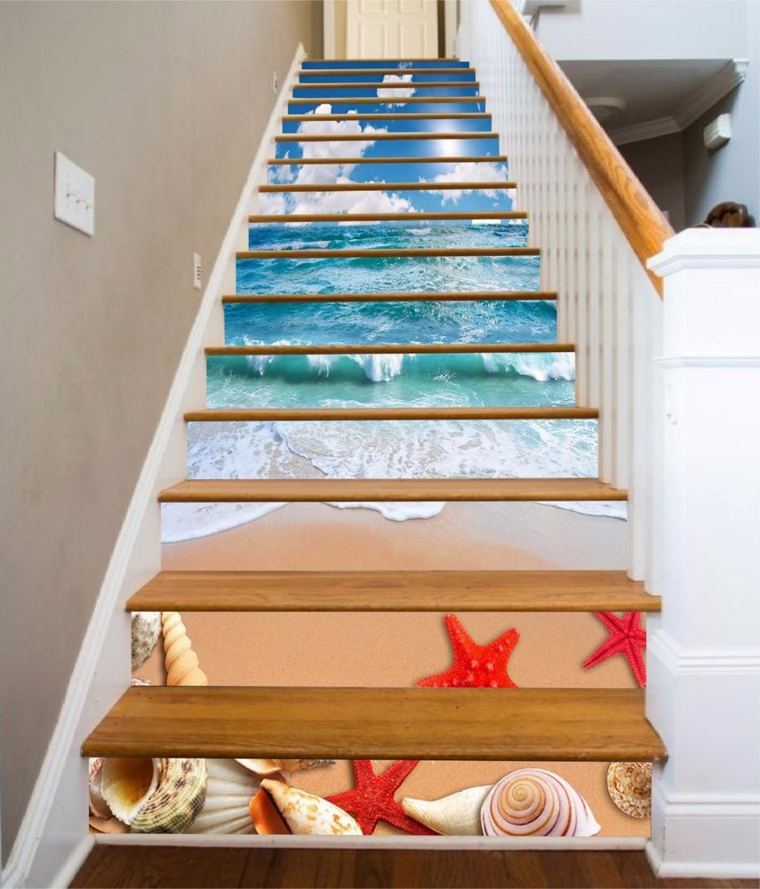 3d sky sea beach stair risers decoration photo mural vinyl decal wallpaper au home garden home décor decals stickers vinyl art ebay