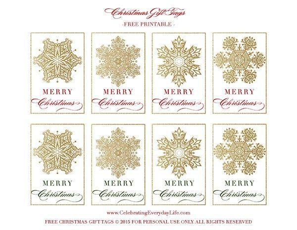 graphic regarding Free Printable Gift Tag named Free of charge Printable Snowflake Reward Tags Printables No cost
