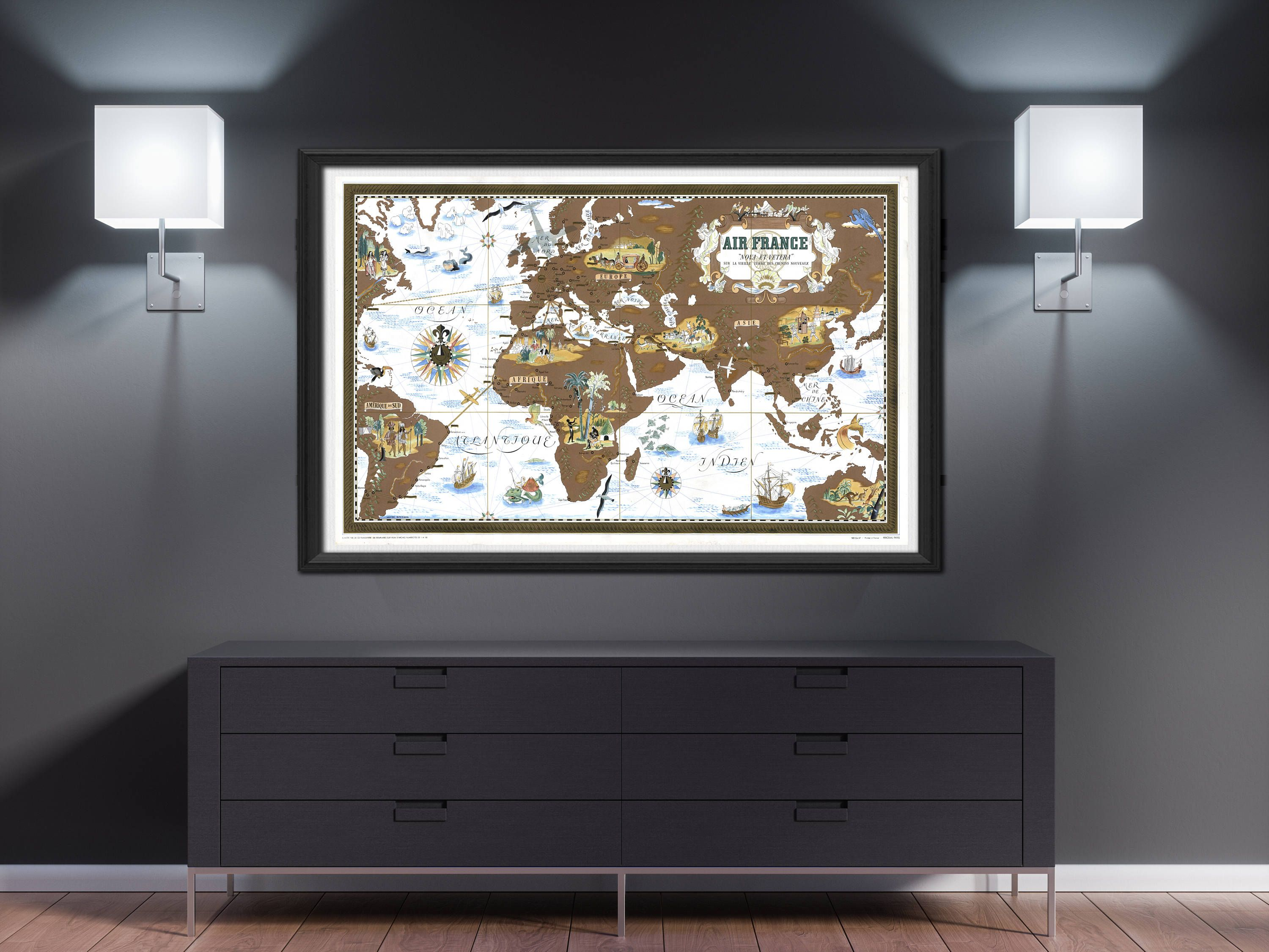 World map wall art 1939 air france world destination map poster world map wall art 1939 air france world destination map poster wanderlust gift large map vintage map decor ancient antique mappemonde gumiabroncs Gallery