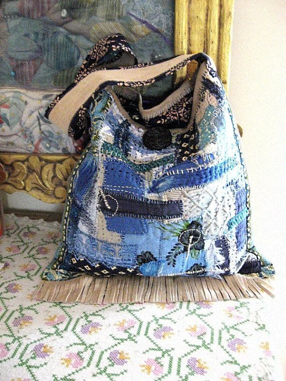 Items similar to Indigo Fields, Bag, Bohemian Gypsy, Patchwork, Blue, Vintage Fabric, Embroidered on Etsy
