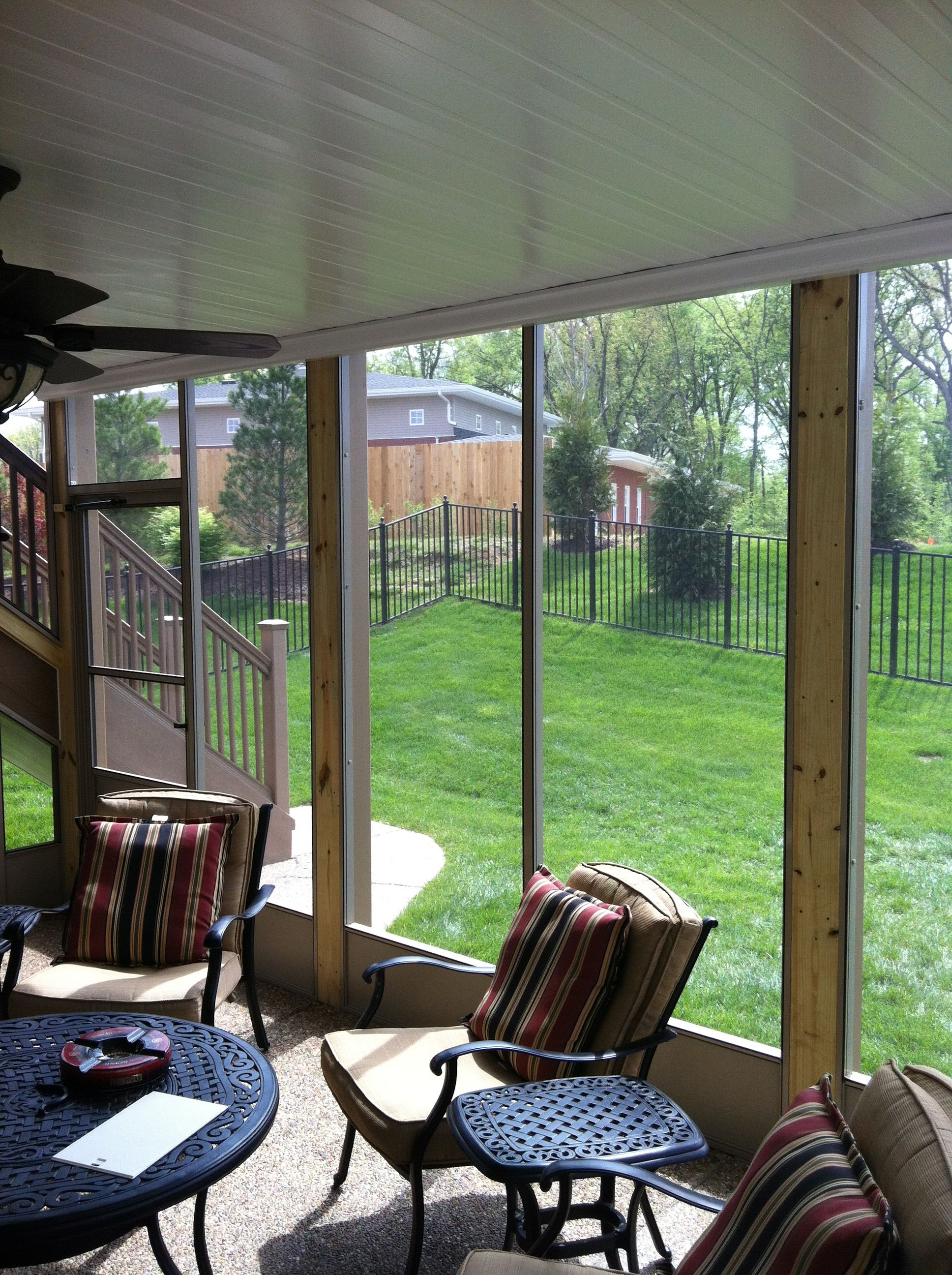 This beautiful screened in porch is a combination of a waterproof deck ceiling and classic screen walls.  RainTIght decks was truly grateful to be able to help this customer with there dry decks roof.  The underdeck ceiling was installed first with the screens second.