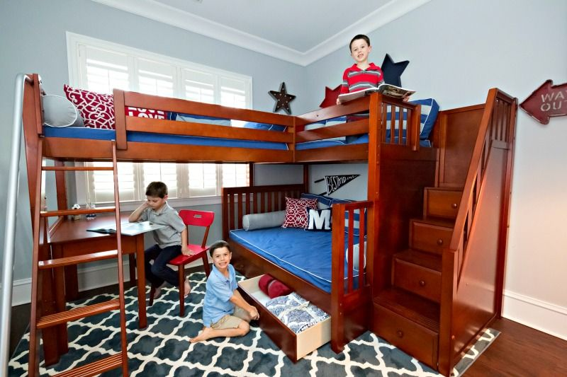 A New Way To Sleep Three A Corner Bunk With Staircase Bunk Beds Bunk Bed Plans Triple Bunk Beds