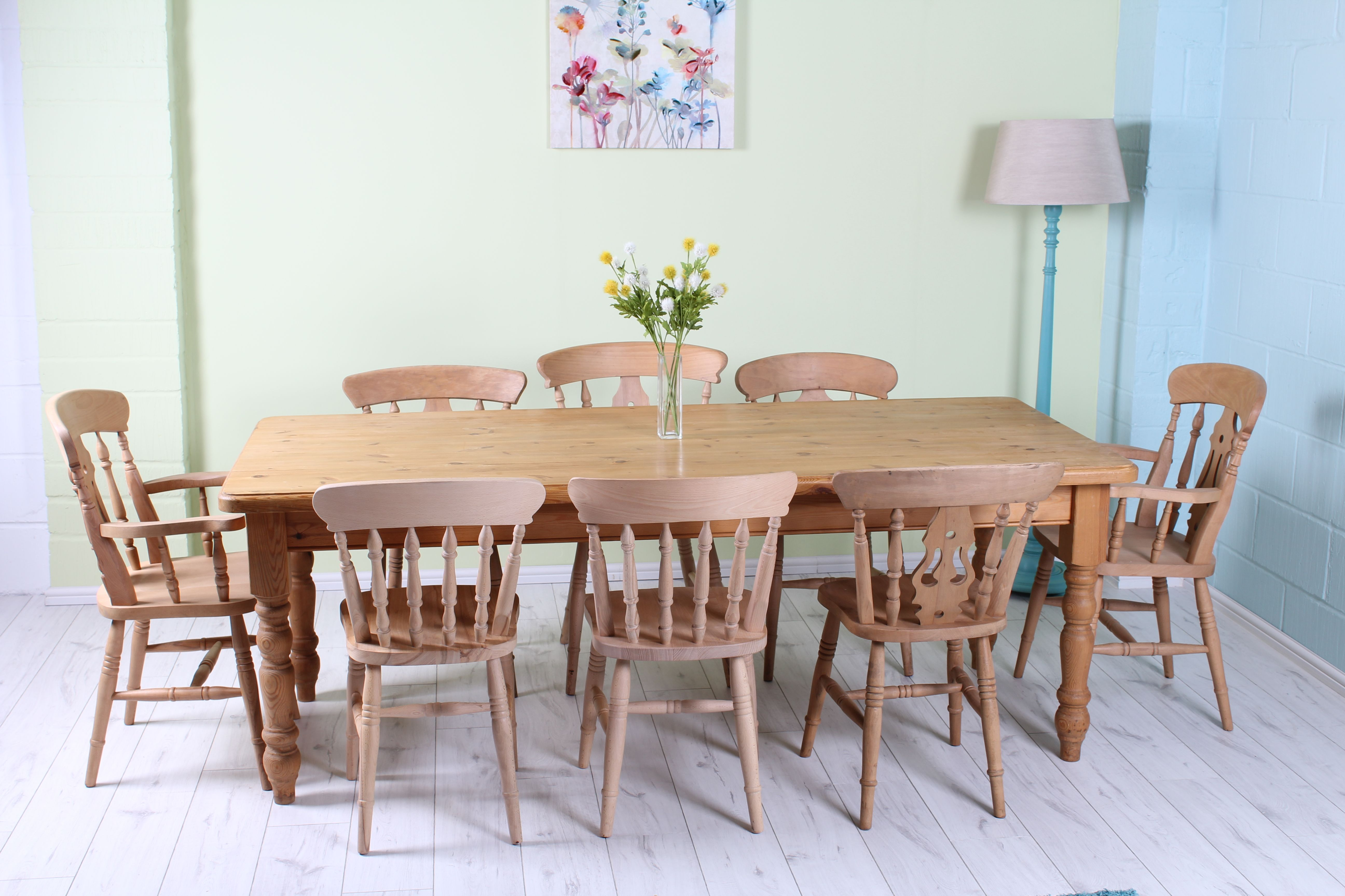 £475 7 FT SOLID PINE FARMHOUSE TABLE WITH 8 CHAIRS INCLUDING 2 CARVERS   L