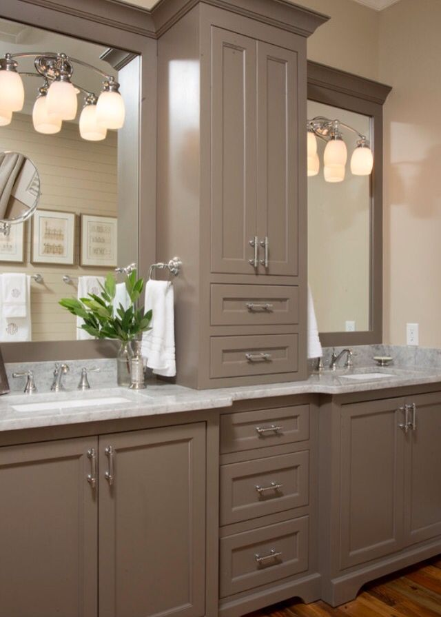 Love This Idea Of The Two Sinks Divided By The Unit Bathroom
