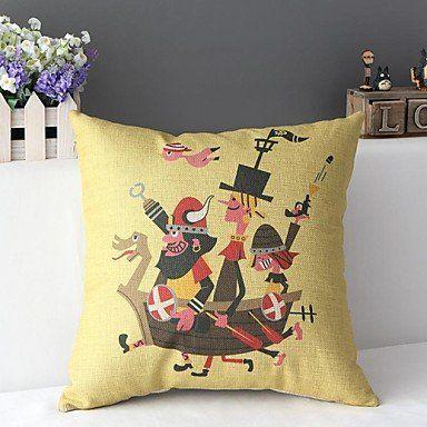 Cute Cartoon Carribean Pirate s Ship Decorative Pillow Cover Throw