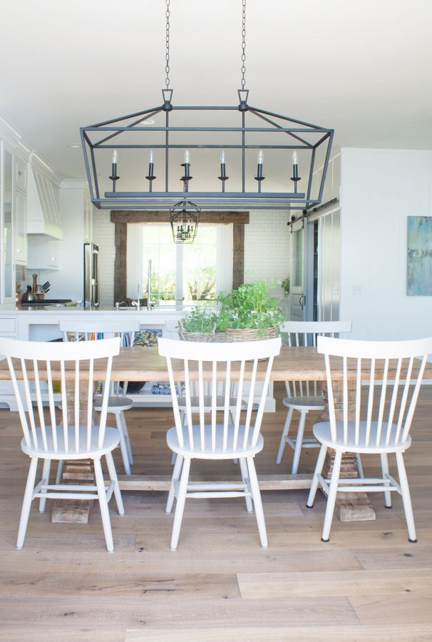 lake house dining room gray dining chairs wide plank and rustic