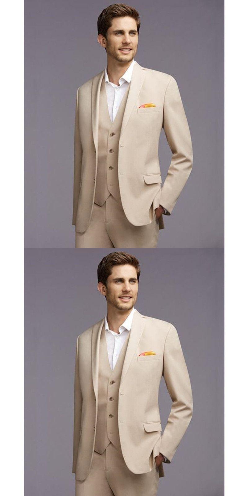 Men Suits Beige Wedding Suits For Men Notched Lapel Grooms Tuxedos ...