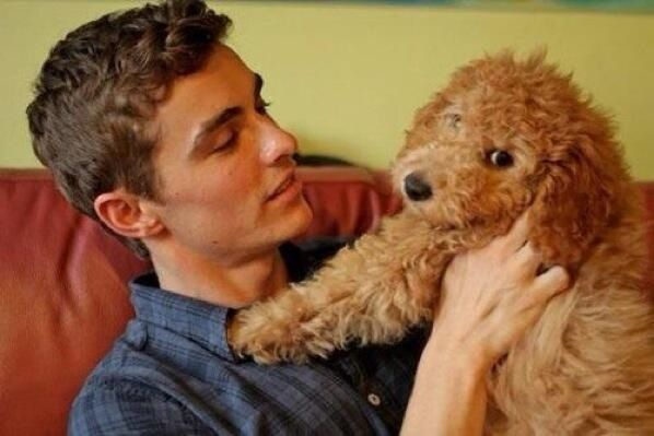If you ever feel sad, here's a picture of Dave Franco and a doggie