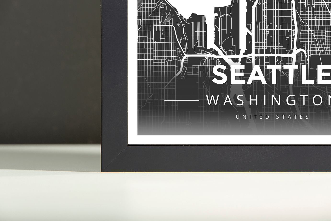 Framed Map Poster of Seattle Washington Modern Contrast Seattle