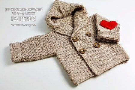 2db498b9f knitting pattern - knitted hooded baby jacket age 0-3 months