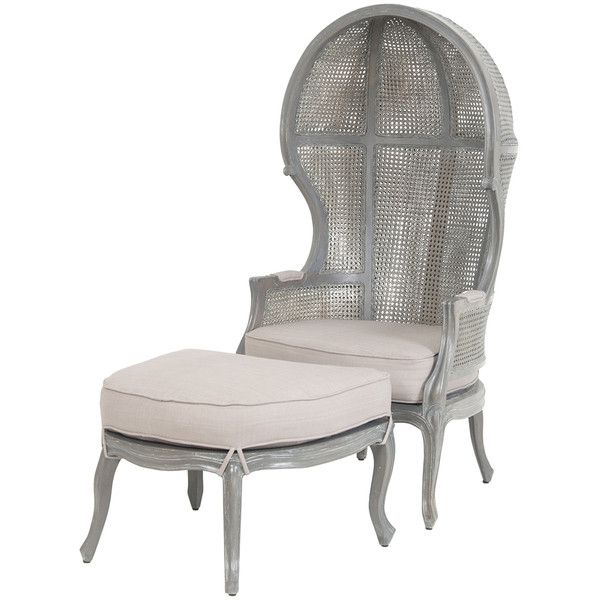 Grey Wash French Rattan Balloon Chair and Ottoman ($1,995) ❤ liked on Polyvore featuring home, furniture, ottomans, victorian style furniture, french ottoman, french furniture, woven ottoman and gray wash furniture
