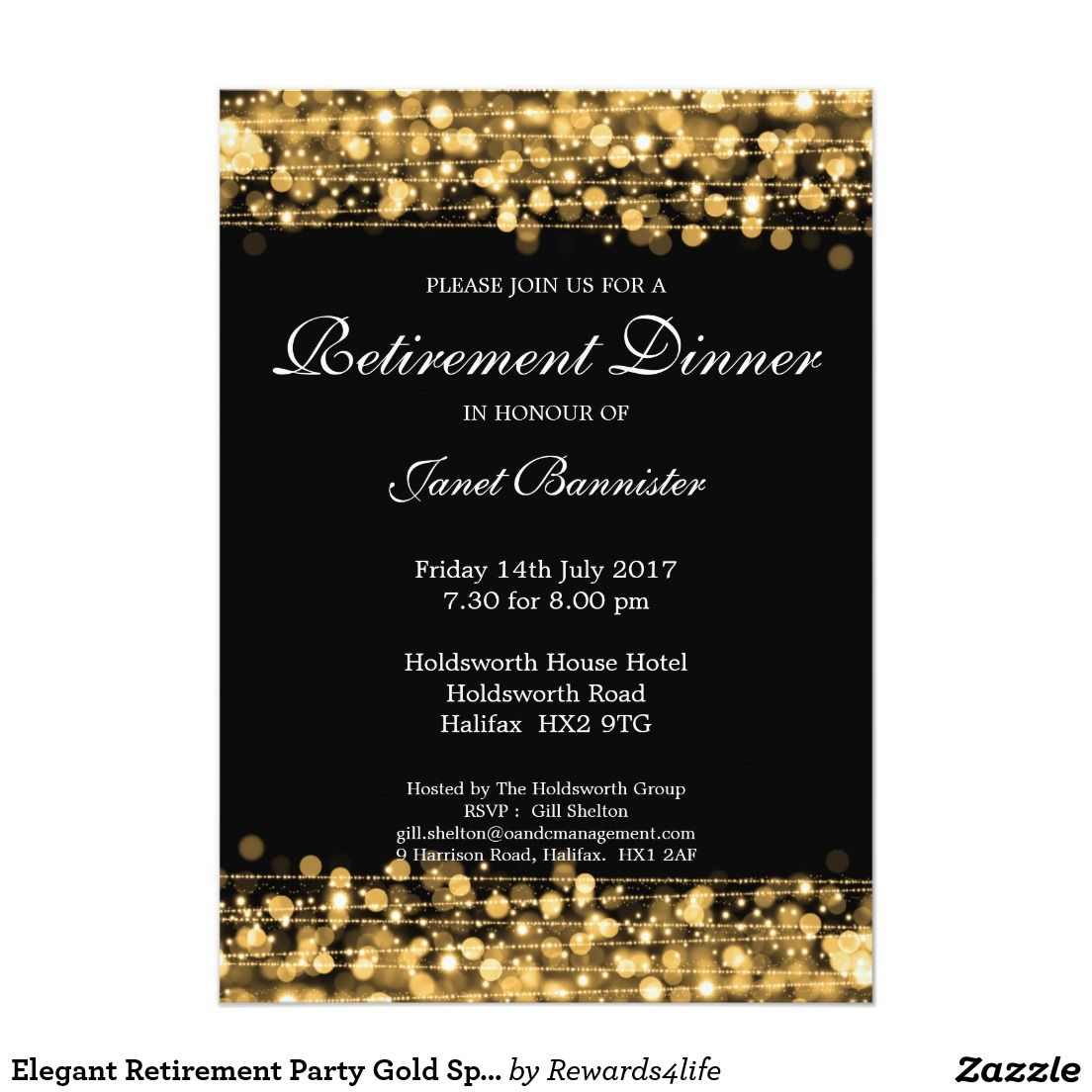 Elegant Retirement Party Gold Sparkles Card Retirement Parties