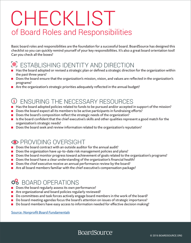 Board Roles and Responsibilities Checklist Board