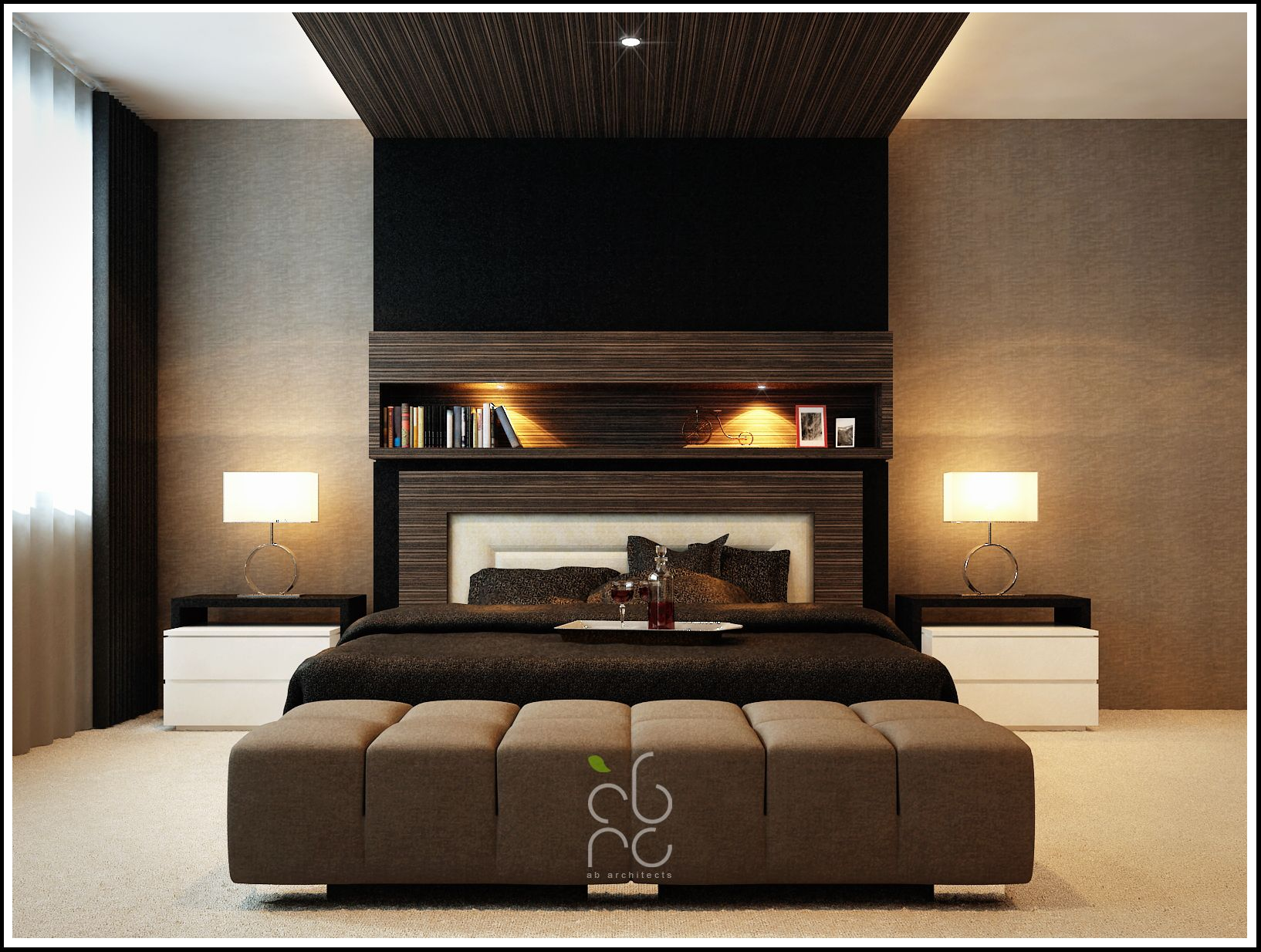 Superbe Contemporary Master Bedroom With Black Comfortable Master Single Bed With  Two Drum Shade Table Lamps Also