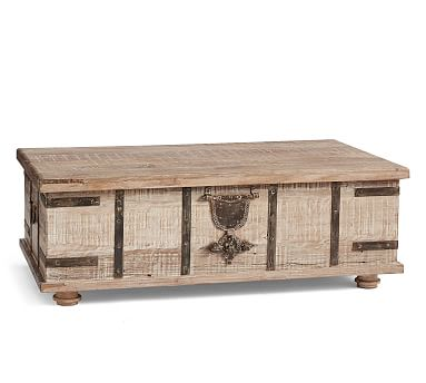 Kaplan Reclaimed Wood Lift Top Trunk Coffee Table Trunk