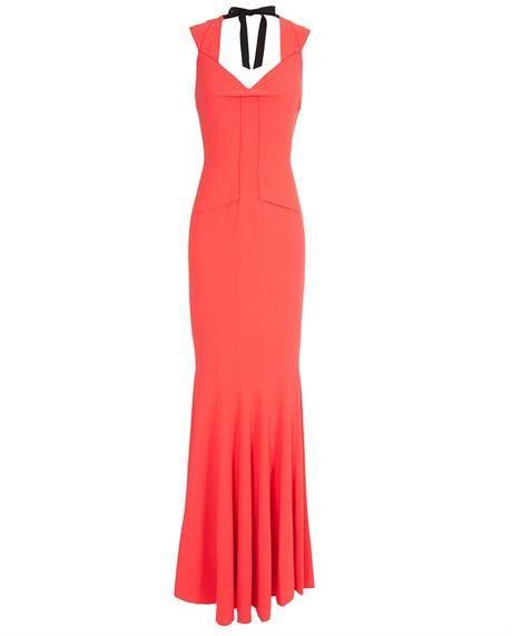 ROLAND MOURET  Orange Frances Stretch-crepe Gown