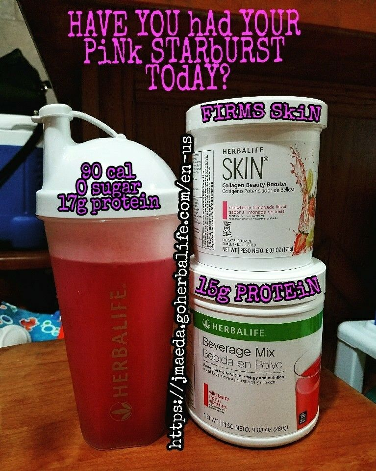 Pink Starburst ♡ 2 scoops herbalife beauty booster and 2 ...