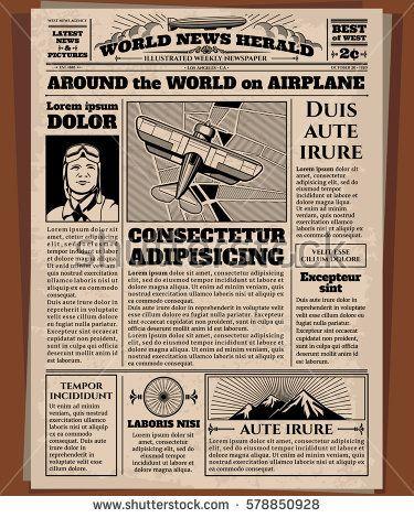Old newspaper, vintage newsprint vector template Retro newspaper - old newspaper template